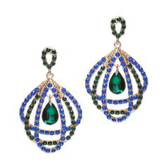 "Love this! Found it on Journey Accessories  The vivid lustre of Mariana's stones is the perfect accent to your holiday attire. You'll sparkle in these two drop sapphire and emerald- toned beauties. Three CZ-bordered gold tear drops beautifully frame a single emerald green stone. Mariana is a natural for the holidays!  - Gold tone metal - post back for pierced ears - 2 1/2 "" long $48"