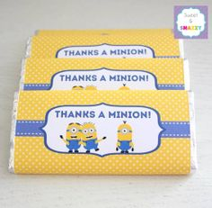 Chocolate Bar Wrappers - Candy Bar Wrapper - Personalised Chocolate Bar - Minions - by Sweet & Snazzy. Feel free to visit us at https://www.facebook.com/sweetandsnazzy