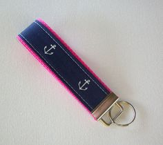 Key FOB / KeyChain / Wristlet   Anchors on hot pink   by Laa766, $6.50  Great for teachers, coaches, nurses, and students. preppy / fabric /cute / patterns / key chain / keychain / girly / badge / key leash