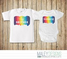 Rainbow Baby Announcement Set, Big Brother of a Rainbow Baby, Rainbow Baby…