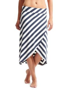 Ribbon Stripes Skirt - Lightweight, yummy stretch viscose is awesome for warm days in this front-wrap midi skirt.