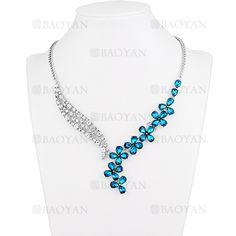 collar fantasia de piedra blanca y azul brillantes para mujer -ACNEG106092