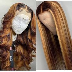 Lace Front Human Hair Wave Wigs Ombre Color Wig Density for Women Pre-Plucked Natural Hairline with Baby Hair - Hair - Afro Hair Style, Curly Hair Styles, Natural Hair Styles, Honey Blonde Hair, Blonde Wig, Blonde Weave, Ombre Hair Weave, Honey Blonde Highlights, Frontal Hairstyles
