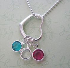 sterling silver heart necklace  choose 3 by juliethefish on Etsy, $40.00