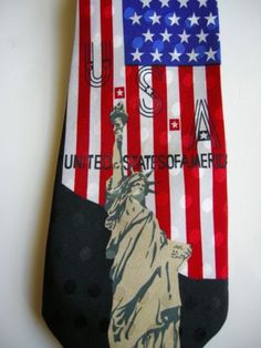 USA-4th-of-July-Tie-Patriotic-American-Flag-Statue-of-Liberty-Necktie-Polyester