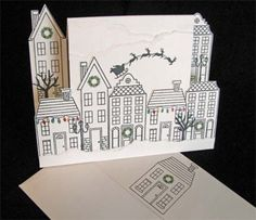 I've really enjoyed making these Center Step cards, and I love that the houses