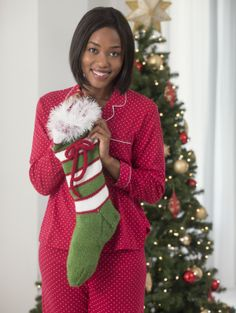 Holiday Stripes Stocking - Free Knitting Pattern