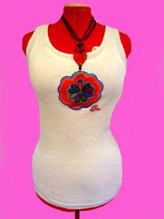 GET THE LOOK,Funky Necklace & Women's T,Shirts, Women's Tank Top, Funky Handpainted T,Shirt, Boho T,Shirt, 100% Cotton