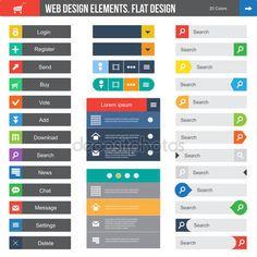 Illustration about Flat Web Design elements, buttons, icons. Templates for website. Illustration of concept, element, header - 32262320 Flat Web Design, Design Thinking, Intranet Design, Le Web, User Interface Design, Resume Design, Site Design, Design Design, Creative Design