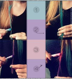 Jeito simples de ter os cabelos coloridos: use giz pastel!