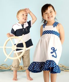 Classic Cuties! #cutiestyle #zulily - can never go wrong with nautical - especially love the boys outfit!