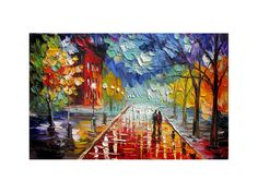 PRINT on Canvas of Original painting Cityscape By Marchella Piery Red Blue Sky Rainy Reflection Couple Love Modern Home decor Office modern decor Night Love Romance Night Love, Cityscapes, Modern Decor, Office Decor, Giclee Print, Red And Blue, Reflection, Original Paintings, Romance