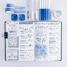 Inspiring bullet journal weekly spread ideas to inspire your creativity. - Inspiring bullet journal weekly spread ideas to inspire your creativity. Laying out your week relaxe - Bullet Journal Inspo, Bullet Journal Weekly Spread, April Bullet Journal, Bullet Journal Notebook, Bullet Journal Aesthetic, Bullet Journal Ideas Pages, Bullet Journal Layout, Journal Prompts, Art Journals