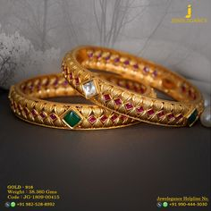 Gold 916 Premium Design Get in touch with us on Plain Gold Bangles, Ruby Bangles, Gold Bangles Design, Gold Earrings Designs, Gold Jewellery Design, 1 Gram Gold Jewellery, Gold Jewelry, Gold Mangalsutra Designs, Gold Accessories