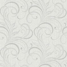 Kenneth James Rauda Modern Scroll Wallpaper Pewter - 2618-21359