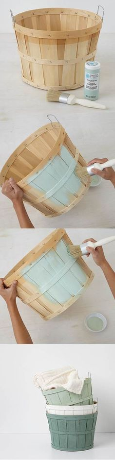 Customize orchard baskets with Vintage Decor Paint /diy