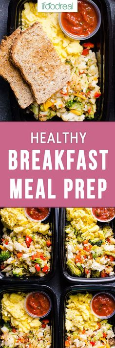 Healthy Breakfast Meal Prep with broccoli, cauliflower, bell pepper, eggs, salsa and whole grain toast for protein packed and veggie loaded breakfast on the go. #ifoodreal #mealprep #eggs #healthy #healthyrecipes #healthyfood
