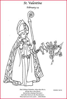 free printable coloring page for st valentine