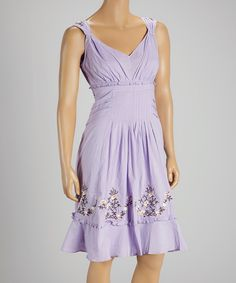 Look at this Purple Embroidered Tie-Waist Empire-Waist Dress on #zulily today!