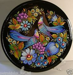 Folk art Ukrainian Handmade  wooden Plate  with Petrykivka Painting home Decor