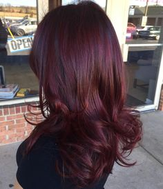 Sophisticated Burgundy Balayage with Touches of Copper