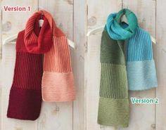 Beginner knitting pattern for a dishcloth scarf.