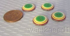 auth 60s vtg LEA STEIN BUTTONS layered green yellow white plastic 15mm set 4 nos
