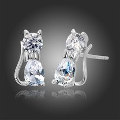 925 Sterling Silver Kitty Cat Cubic Zirconia Stud Earrings For Children Baby Kids Gifts Pure Solid Anti-Allergic