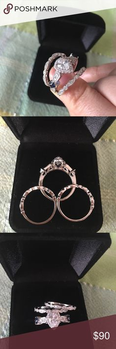 Round Cut Sim Diamond 14Kt Black Gp 925 Silver Trio Wedding