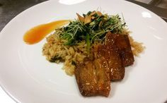 Sticky glazed pork belly w/ scallion fried rice and onion sprout micro salad. #porkbelly #rice #onionsprout #fuckthatsdelicious by ron.lilly.93
