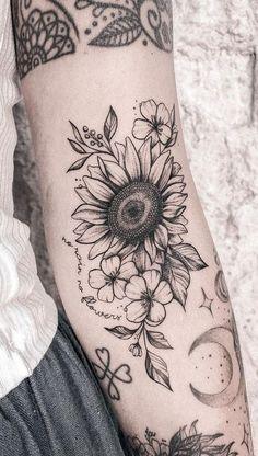 Hand Tattoos, Neue Tattoos, Body Art Tattoos, Sleeve Tattoos, Tatoos, Sunflower Tattoo Shoulder, Sunflower Tattoos, Sunflower Tattoo Design, Sunflower Tattoo Sleeve
