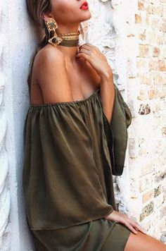 Pinterest: Heatonminded Green Outfits, Everyday Fashion, Different Styles, Off Shoulder Blouse, Backless, Tops, Dresses, Women, Vestidos