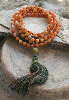 Mala necklace made of 108, 7/8 mm - 0.275/0.315 inch, beautiful frosted orange agate gemstones and decorated with African turquoise pieces - look4treasures on Etsy