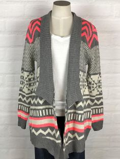 Patterned Sweater w/ Neon Accents - Grey