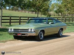 1969 Chevelle Malibu. I owned one of these, same body color, but the vinyl roof was cream-colored. 350CI, 300HP.