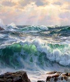saturday - whatever it takes - Seascape Paintings, Nature Paintings, Landscape Paintings, Ocean Scenes, Sea Waves, Paintings I Love, Ocean Art, Nature Pictures, Belle Photo
