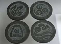 Stone coaster natural Slate hand carved Four Element by SAGaStone
