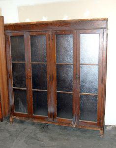 Antique Schoolhouse Oak Cabinet, Built In, Architectural Salvage, Bead Board