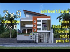 modern minimalist house models level split meters on a 3 bedrooms 4 toilet Modern Minimalist House, Modern House Design, Construction, Mansions, House Styles, Outdoor Decor, Toilet, Science Experiments, Home Decor
