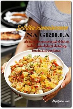 Sałatka na grilla Finger Foods, Potato Salad, Grilling, Salads, Bbq, Healthy Recipes, Healthy Food, Lunch, Meat