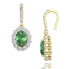 Halo Diamond And Emerald Drop Earrings in 14k White Gold