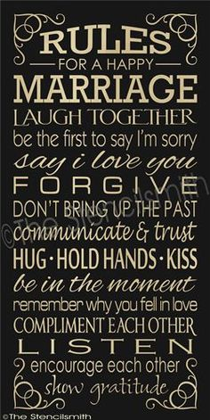 Rules For A Happy Marriage, Hand Stenciled Painted Wood Sign, Marriage Sign The Words, Marriage Advice, Love And Marriage, Marriage Hand, Relationship Advice, Strong Marriage, Happy Marriage Quotes, Quotes On Marriage Anniversary, Happy Anniversary