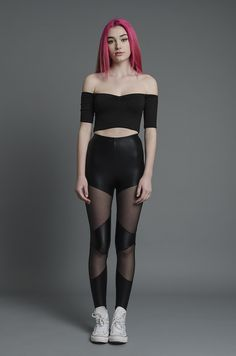 Fashion, beauty, music and pop culture news for today's young women. Pop Culture News, Mesh Leggings, Ringer Tee, Grunge Fashion, Fancy, Crop Tops, Tees, My Style, Skirts