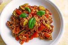 Mediterrane Zucchini - Reis - Pfanne mit Feta