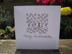 Handmade Christmas Card - drawn and painted by hand. Trees and Stars auf Etsy, 2,37 €