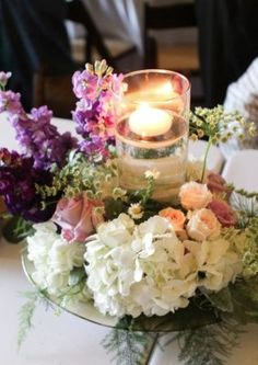 White, Pink and Purple Flower Floating Candle Wedding Reception Centerpiece
