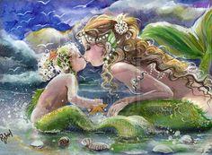 kissing mermaids Mother and Child Mermaid art POSTER by RubysBrush Mermaid Fairy, Baby Mermaid, The Little Mermaid, Fantasy Mermaids, Mermaids And Mermen, Fantasy Kunst, Mermaid Kisses, Baby Posters, Merfolk