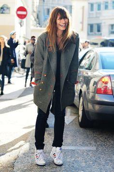 la modella mafia Caroline De Maigret model off duty street style in Isabel Marant coat and Adidas sneakers Urban Street Style, Street Style Fashion Week, Looks Street Style, Looks Style, Look Fashion, Runway Fashion, Fashion Models, Style Me, Street Styles