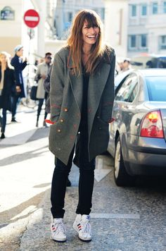 Grey trench + high-cut sneakers