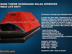 20 PERSONS SOLAS APPROVED INFLATABLE LIFE RAFT THROW OVERBOARD    For more information please contact us:  LIFERAFT ASIA